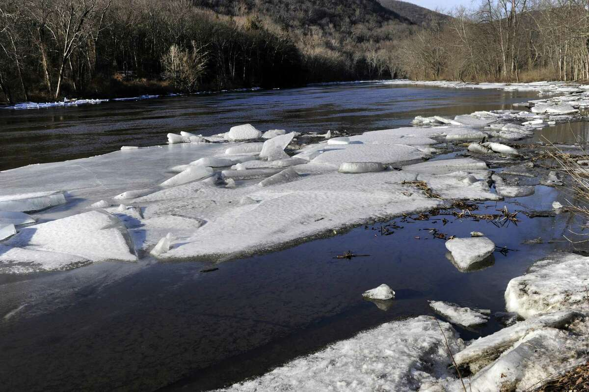 The ice that jammed the Housatonic River in Kent for several weeks has significantly melted. Photo Monday, Feb. 12, 2018.