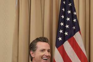 SAN FRANCISCO, CA - FEBRUARY 9: California Lieutenant Governor Gavin Newsom smile while meeting with Canada's Prime Minister Justin Trudeau on February 9, 2018 in San Francisco, California. Trudeau is in California to discuss the North American Free Trade Agreement and to promote Canada to technology firms. (Photo by Jeff Chiu-Pool/Getty Images)