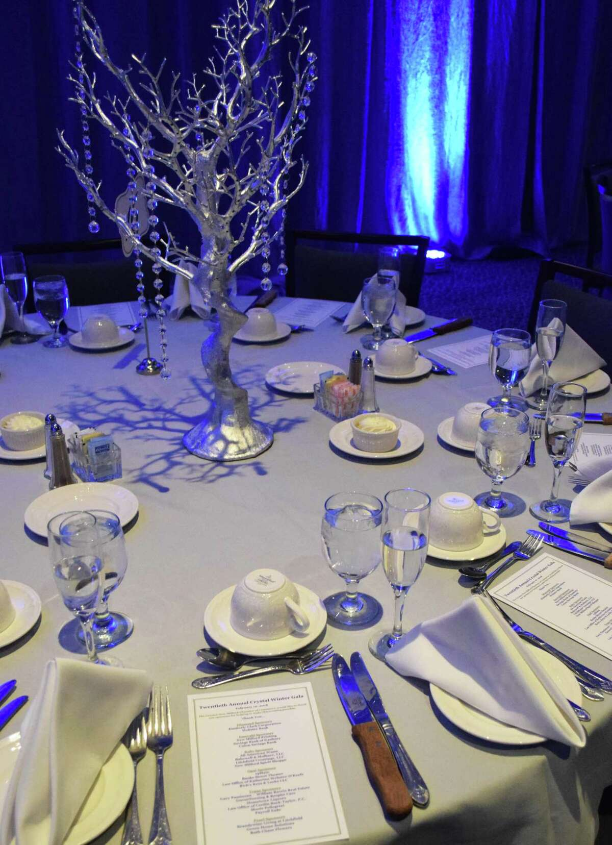 Table setting at the Greater New Milford Chamber of Commerce's 20th annual Crystal Winter Gala held FEb. 10, 2018 at the Amber Room Colonnade in Danbury.