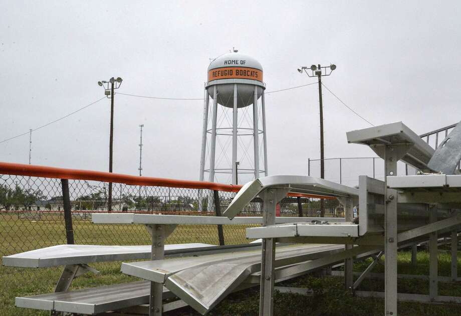 The 140 mph winds of hurricane Harvey mauled Refugio High School athletic facilities, including the softball field bleachers, Sunday, Dec. 17, 2017, in Refugio. ( Hunter Atkins / Houston Chronicle ) Photo: Hunter Atkins, Houston Chronicle / Hunter Atkins / © 2017 Houston Chronicle