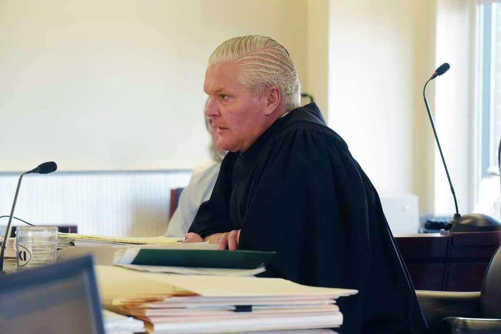 Judge Peter Lynch sentences Edward Mero for the murder of two women, on Tuesday, Feb. 13, 2018, in Albany, N.Y. (Paul Buckowski/Times Union)