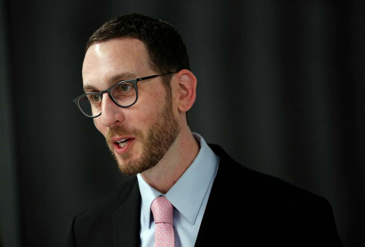 California State Senator Scott Wiener speaks during a press conference at the offices of Stitch Fix in San Francisco, Calif., on Monday Jan. 29, 2018. Senator Wiener is introducing a bill to require lactation facilities in California businesses.