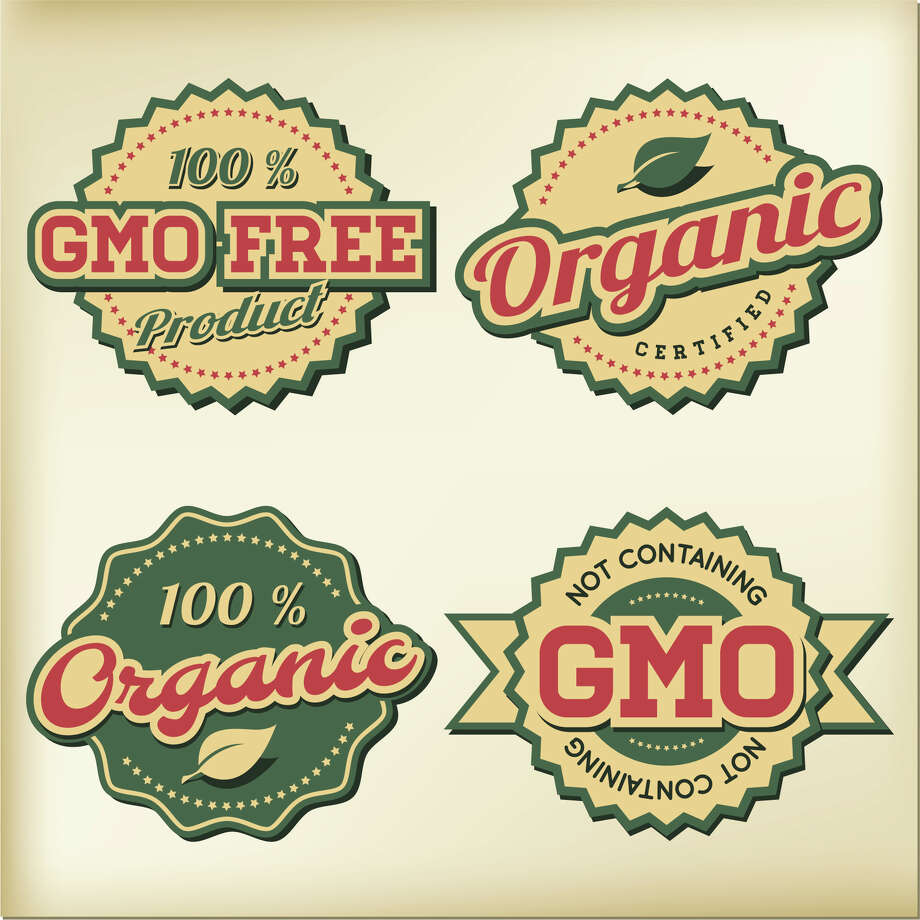 Labels indicate non-GMO and organic products. Photo: Getty