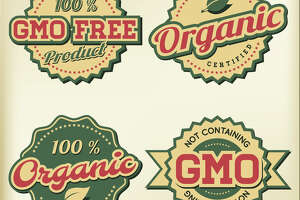 Labels indicate non-GMO and organic products.