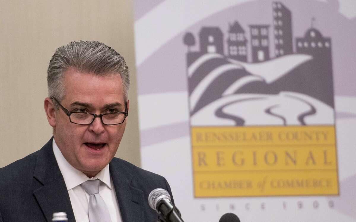Rensselaer County Executive Steven McLaughlin delivers his first public speech to the Rensselaer County Chamber of Commerce since being elected Wednesday Jan 10, 2018 at the Hilton Garden in Troy, N.Y. (Skip Dickstein/Times Union)