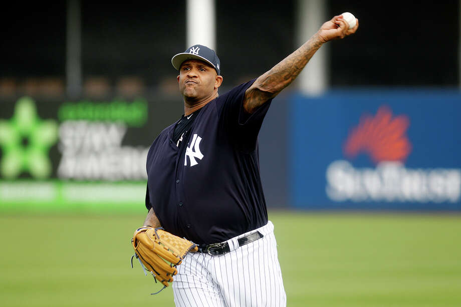 New York Yankees pitcher CC Sabathia throws during baseball spring training at Steinbrenner Field in Tampa, Fla., Tuesday, Feb. 13, 2018. (Octavio Jones/Tampa Bay Times via AP) Photo: Octavio Jones / Tampa Bay Times