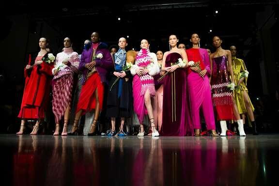 A model walks down the runway during the Prabal Gurung fashion show at Spring Studios on Sunday, Feb. 11, 2018 during the 2018 Fall/Winter New York Fashion Week in Manhattan, N.Y. (Chase Gaewski/New York Daily News/TNS)