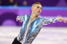 Adam Rippon of the U.S. competes in the Olympic team figure skating competition in Gangneung, South Korea, on Monday,  Feb. 12, 2018, when he helped the United States win a bronze medal.  Among male skaters, body issues are more of an open secret, less likely to be addressed publicly by the competitors but evident to anyone in their world. (Chang W. Lee/The New York Times)