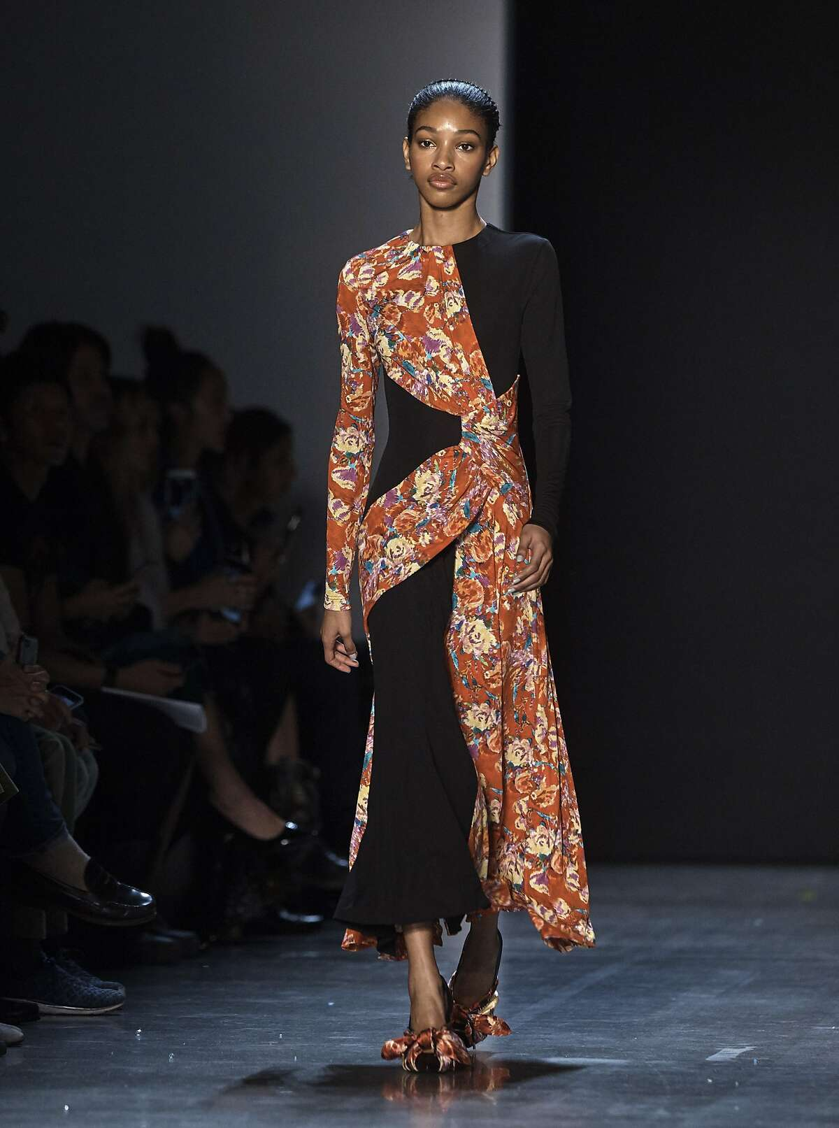 The Prabal Gurung collection is modeled during Fashion Week in New York, Sunday, Feb. 11, 2018. (AP Photo/Andres Kudacki)
