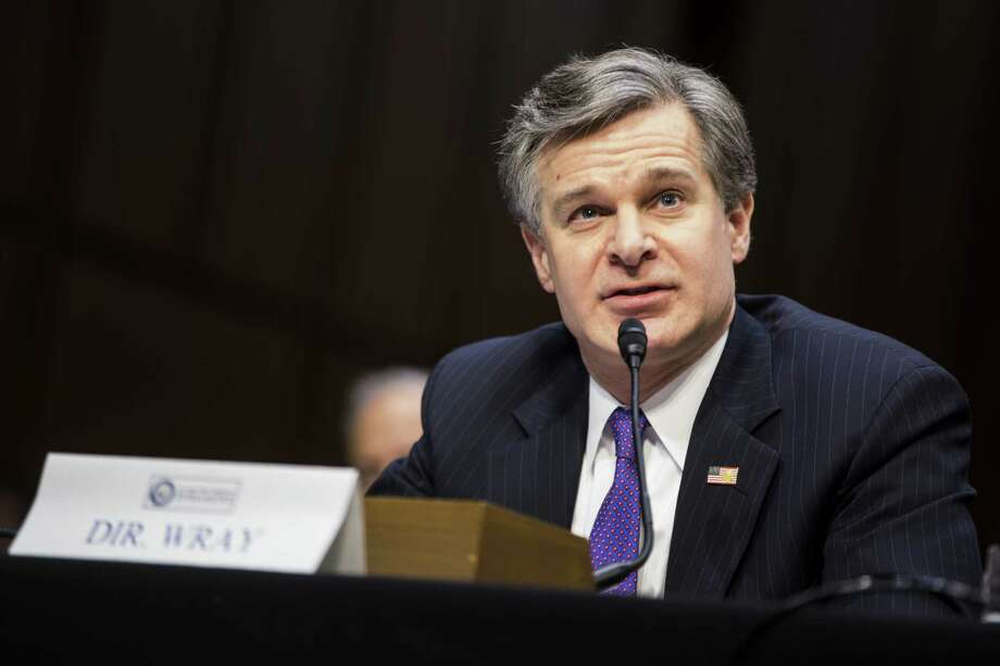 Christopher Wray, director of the Federal Bureau of Investigation (FBI) testifies during a Senate Intelligence Committee hearing on worldwide threats in Washington, D.C., U.S., on February  13, 2018. Photographer: Zach Gibson/Bloomberg Photo: Zach Gibson / © 2018 Bloomberg Finance LP