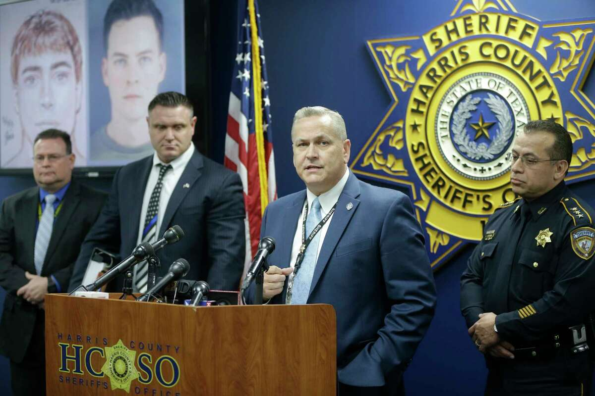 Harris County Sheriff's Office Lt. Jerry Philpot, second from right, with Chief Deputy Edison Toquica, right, address the media Tuesday about the suspect in a 2013 rape case. Now stationed at Fort Bragg, N.C., Levi Goss joined the Army in 2016 and is under investigation in a sexual assault at the base.