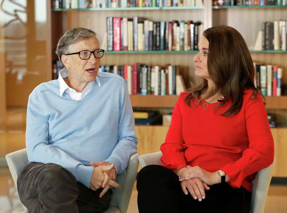 In this Feb. 1, 2018 photo, Microsoft co-founder Bill Gates and his wife Melinda take part in an interview with The Associated Press in Kirkland, Wash. Gates and his wife, head the Bill and Melinda Gates Foundation, are rethinking their work in America as they confront what they consider an unsatisfactory track record, the country's growing inequity and a president they disagree with more than any other. (AP Photo/Ted S. Warren) Photo: Ted S. Warren, STF / Copyright 2018 The Associated Press. All rights reserved.
