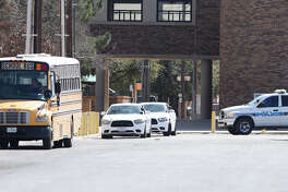 Midland High was placed under a lockdown as authorities searched the campus for a weapon, Feb. 13, 2018.  James Durbin/Reporter-Telegram