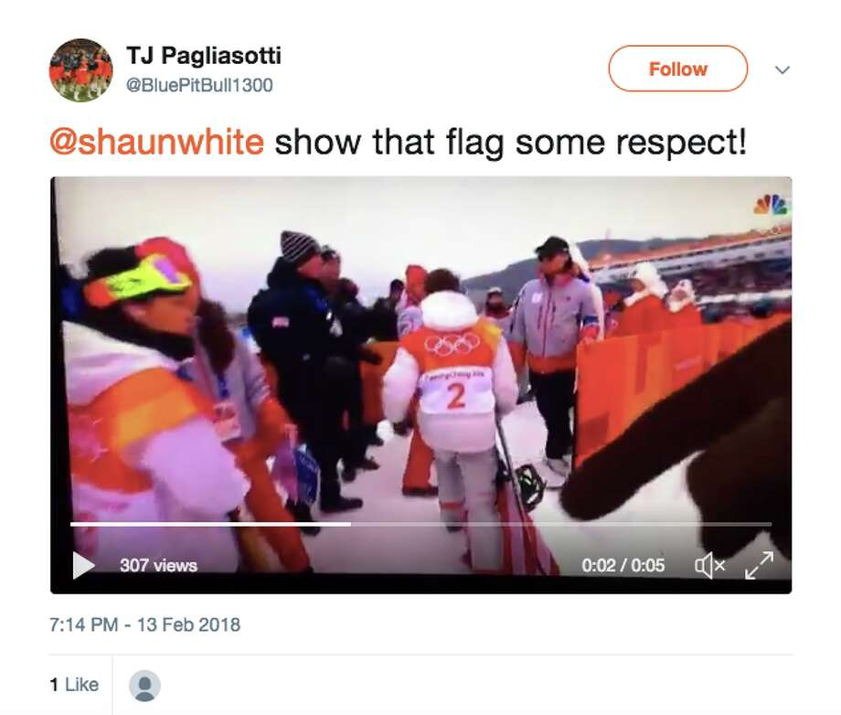 Twitter users react to Shaun White dragging the US flag on the ground after winning gold in Pyeongchang. Photo: Twitter