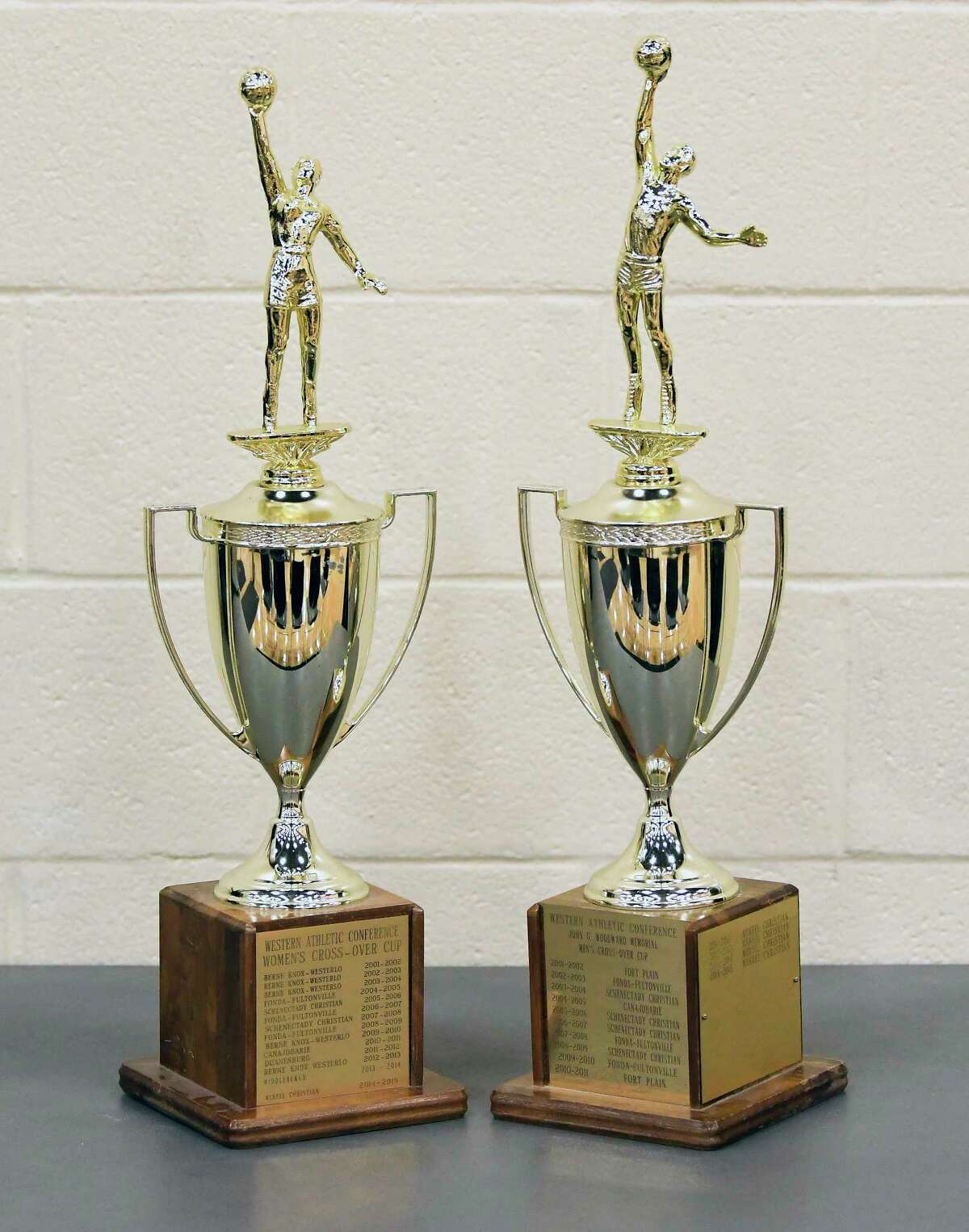 Game Trophys for the Boys-Girls Western Athletic Conference high school basketball tournament Tuesday, Feb. 13, 2018, in Johnstown, N.Y. (Hans Pennink / Special to the Times Union)