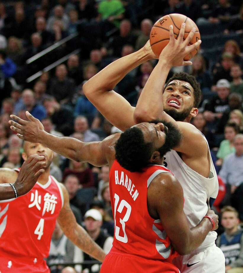 James Harden takes it on the chin from the Timber-