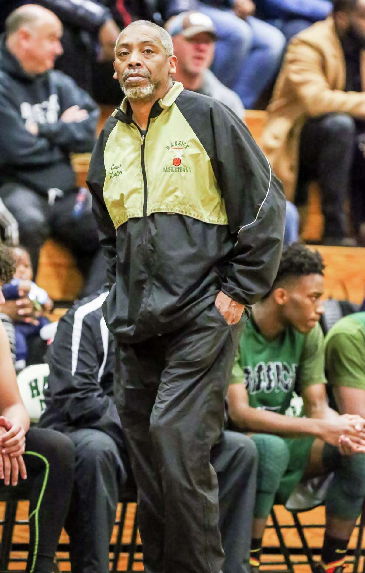 (John Vanacore/For Hearst Connecticut Media) The Hamden Green Dragons played host to the number 4 ranked Bassick Lions Tueday February 13, 2018. The Green Dragons entered the game as the sixth ranked team in the state.