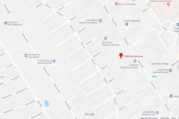 FILE - A screenshot of a Google Maps image of the 17300 block of Red Oak Drive in Houston, Texas. On Feb. 13, 2018, a woman died after two cars hit her near Spring.