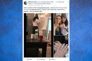 Berkley Cade and Tori Monica of Austin, Texas became a viral sensation when the two proposed to each other in a video posted on Facebook on Feb. 10, 2018.  Source:  Facebook