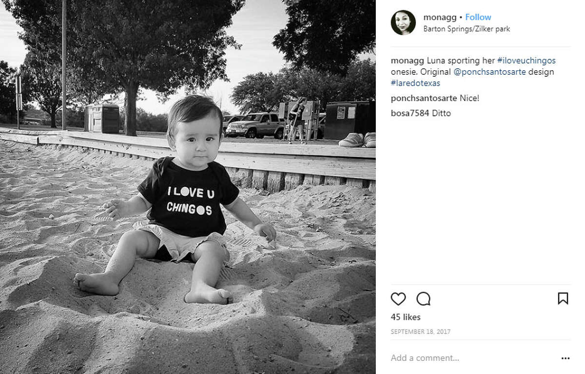 "monagg: ""Luna sporting her #iloveuchingos onesie. Original @ponchsantosarte design #laredotexas"""