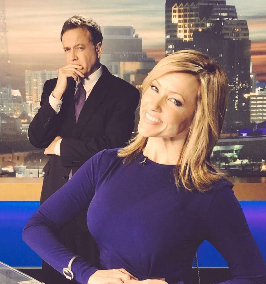 WOAI-TV's 5 p.m. anchorwoman Delaine Mathieu may get a little playful on the air as co-anchor Randy Beamer knows all too well. . . Photo: WOAI