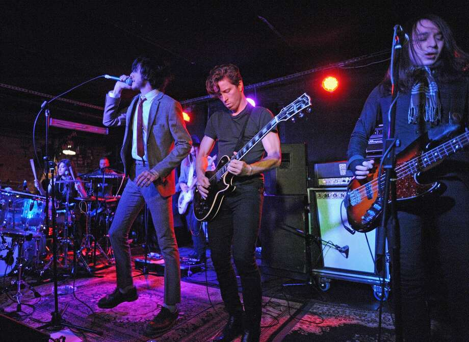 FILE — Guitarist Anthony Sanudo, Lena Zawaideh, Davis LeDuke, Jared Palomer and professional snowboarder Shaun White perform with the band Bad Things at Mercury Lounge on March 2, 2014 in New York City.  Photo: Bobby Bank/WireImage
