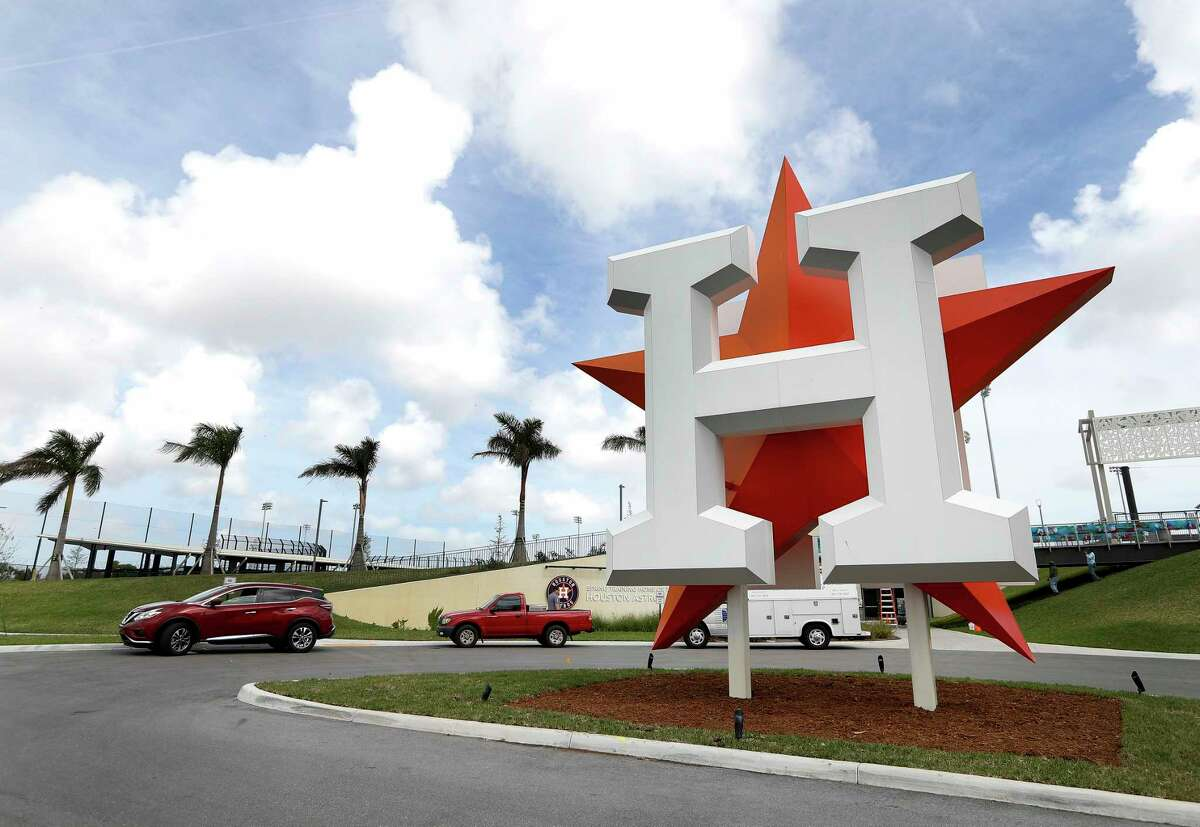 Houston Astros logo outside of the entrance to their spring training facility at The Ballpark of the Palm Beaches, Tuesday, Feb. 13, 2018, in West Palm Beach. Pitchers and catchers first workout is Wednesday.