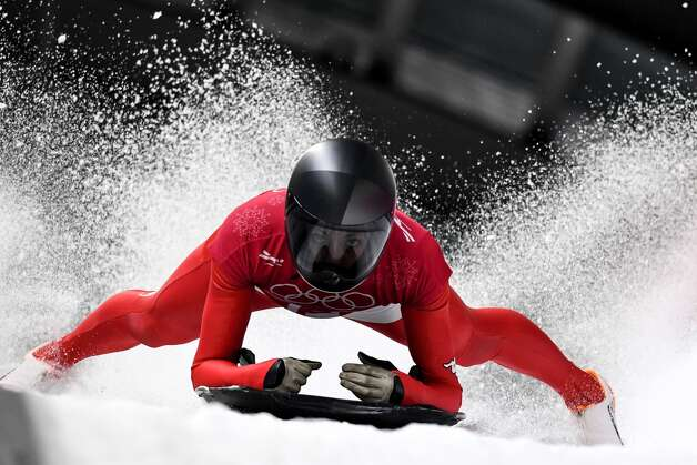 Austria's Janine Flock takes part in the women's skeleton training session at the Olympic Sliding Centre during the Pyeongchang 2018 Winter Olympic Games in Pyeongchang on February 14, 2018. Photo: KIRILL KUDRYAVTSEV/AFP/Getty Images