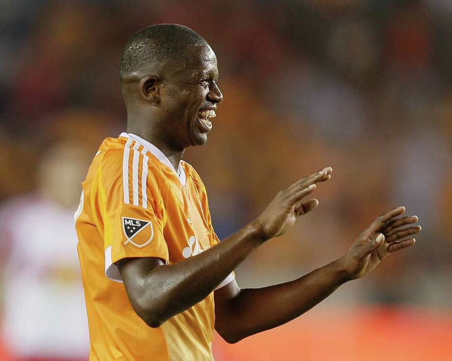 Houston Dynamo midfielder Boniek Garcia (27) celebrates his second half goal against the New York Red Bulls during a MLS soccer game on Friday, June 5, 2015 in Houston. (Bob Levey/For The Chronicle) Photo: Bob Levey, Photographer / ©2015 Bob Levey