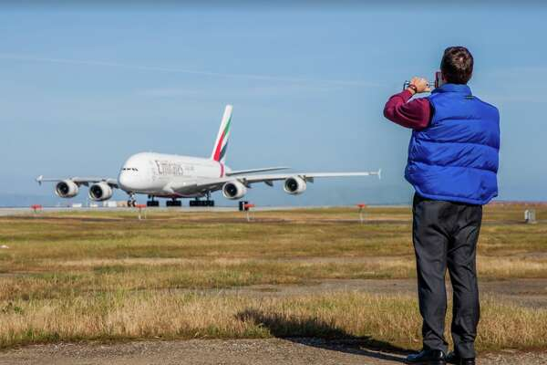 Chris McGinnis getting up close and personal with an Emirates A380 at SFO
