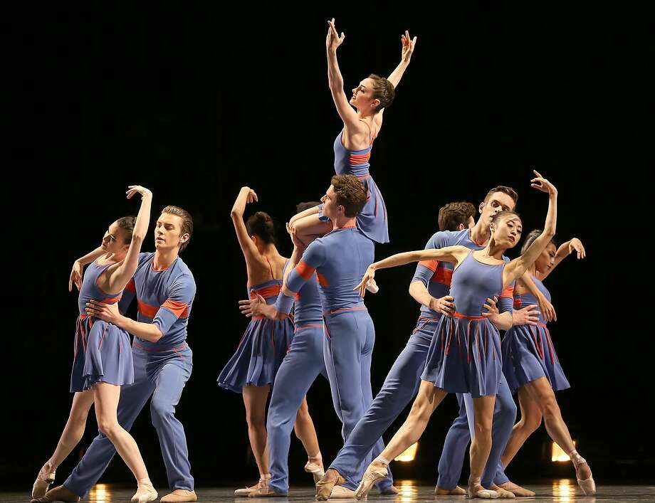 """San Francisco Ballet dancers perform Benjamin Millepied's """"The Chairman Dances,"""" one of three offerings in its latest program at the War Memorial Opera House. Photo: Liz Hafalia, The Chronicle"""