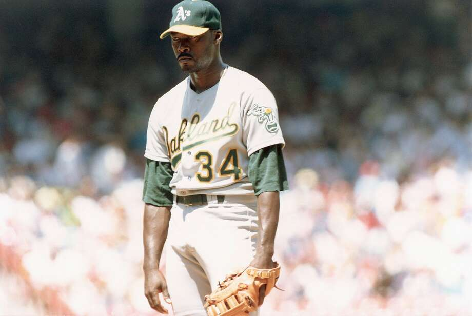 Dave Stewart #34 of the Oakland Athletics ptiches during a game in an undated photo, circa 1989. Photo: Robert Riger, Getty Images