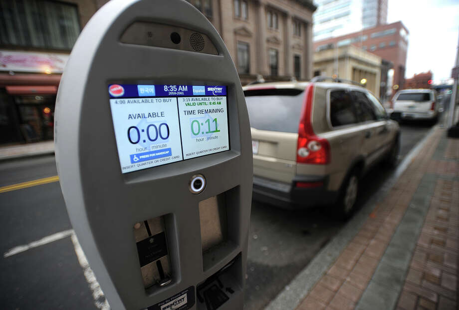 One of the newer parking meters on Main Street in Bridgeport, Conn. on Wednesday, February 14, 2018. Photo: Brian A. Pounds, Hearst Connecticut Media / Connecticut Post