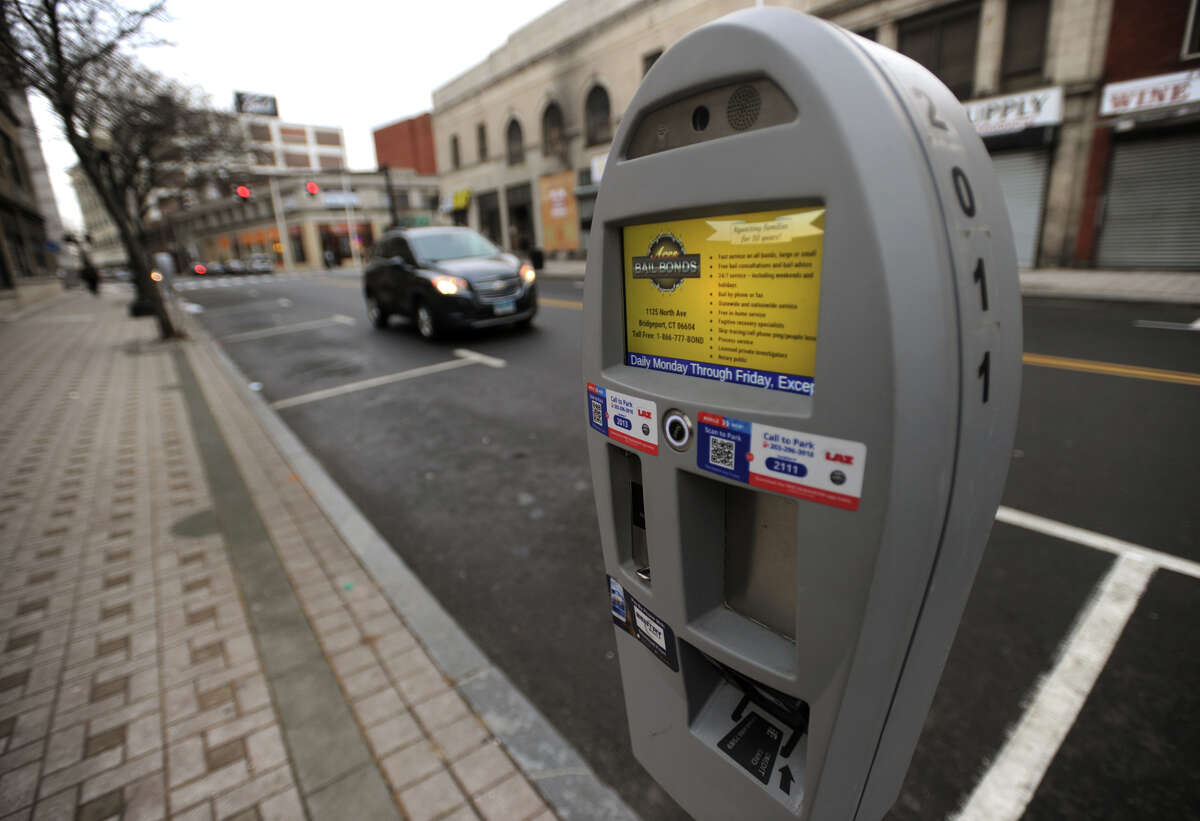 One of the newer parking meters on Main Street in Bridgeport, Conn. on Wednesday, February 14, 2018.