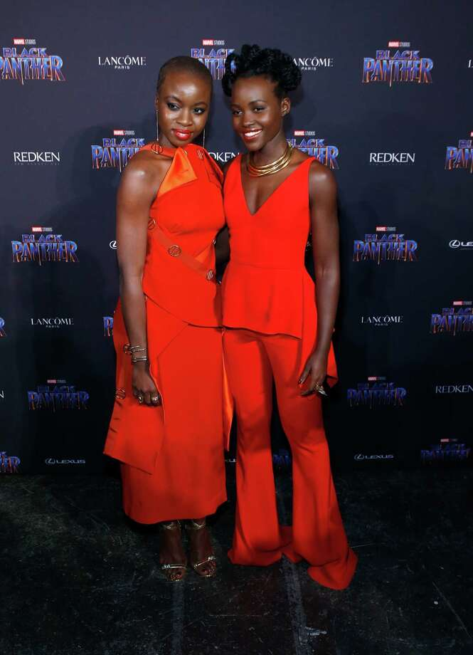 Marvel Studios Presents: Black Panther Welcome To Wakanda - Front Row & Backstage - February 2018 - New York Fashion Week: The ShowsNEW YORK, NY - FEBRUARY 12: Danai Gurira and Lupita Nyong'o attend Marvel Studios Presents: Black Panther Welcome To Wakanda during February 2018 New York Fashion Week: The Shows at Industria Studios on February 12, 2018 in New York City. Photo: (Photo By John Lamparski/WireImage) / 2018 John Lamparski