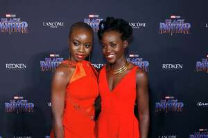 Marvel Studios Presents: Black Panther Welcome To Wakanda - Front Row & Backstage - February 2018 - New York Fashion Week: The ShowsNEW YORK, NY - FEBRUARY 12: Danai Gurira and Lupita Nyong'o attend Marvel Studios Presents: Black Panther Welcome To Wakanda during February 2018 New York Fashion Week: The Shows at Industria Studios on February 12, 2018 in New York City.