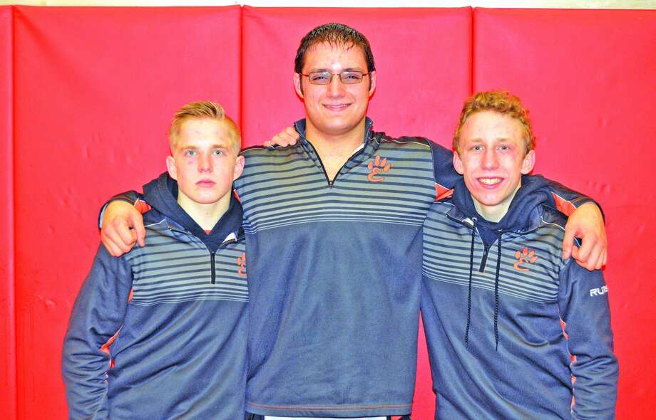 EHS state qualifiers from left to right are Noah Surtin, Josh Anderson and Luke Odom.