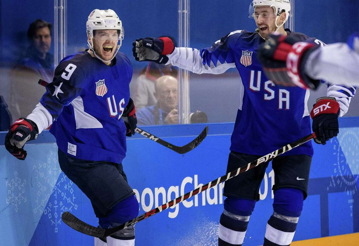 Men's Hockey, Kwangdong Hockey Center, USA vs. Slovenia.Brian O'Neill celebrated after scoring a goal in the first period, on February 14, 2018, at the Winter Olympics in South Korea, Pyeongchang. (Carlos Gonzalez/Minneapolis Star Tribune/TNS)