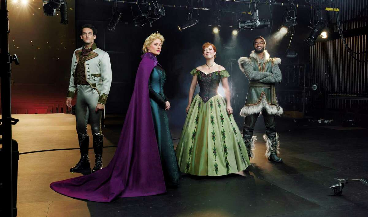 John Riddle (Hans), left, Caissie Levy (Elsa), Patti Murin (Anna) and Jelani Alladin (Kristoff) are in the Broadway cast of Disney's
