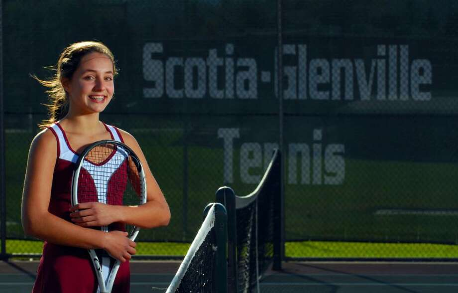 Scotia-Glenville's Claire Schmitz, an eighth-grader, hasn't lost a set this year. (Philip Kamrass / Times Union) Photo: PHILIP KAMRASS / 00005879A