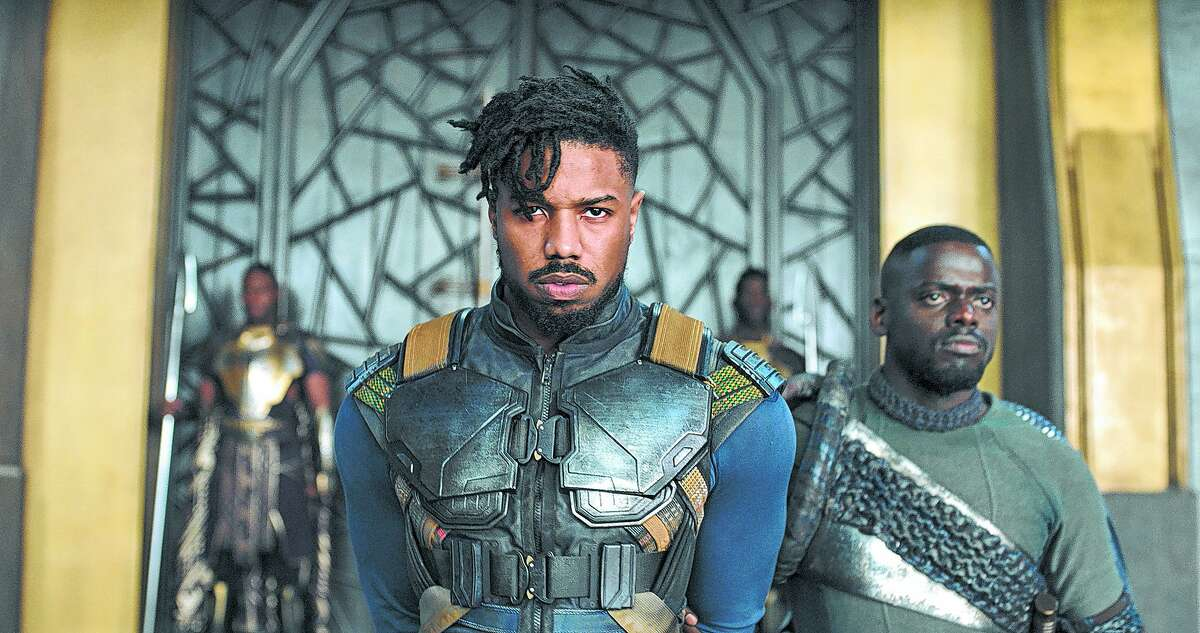 Marvel Studios' BLACK PANTHER..L to R: Erik Killmonger (Michael B. Jordan) and W'Kabi (Daniel Kaluuya)..Ph: Film Frame..