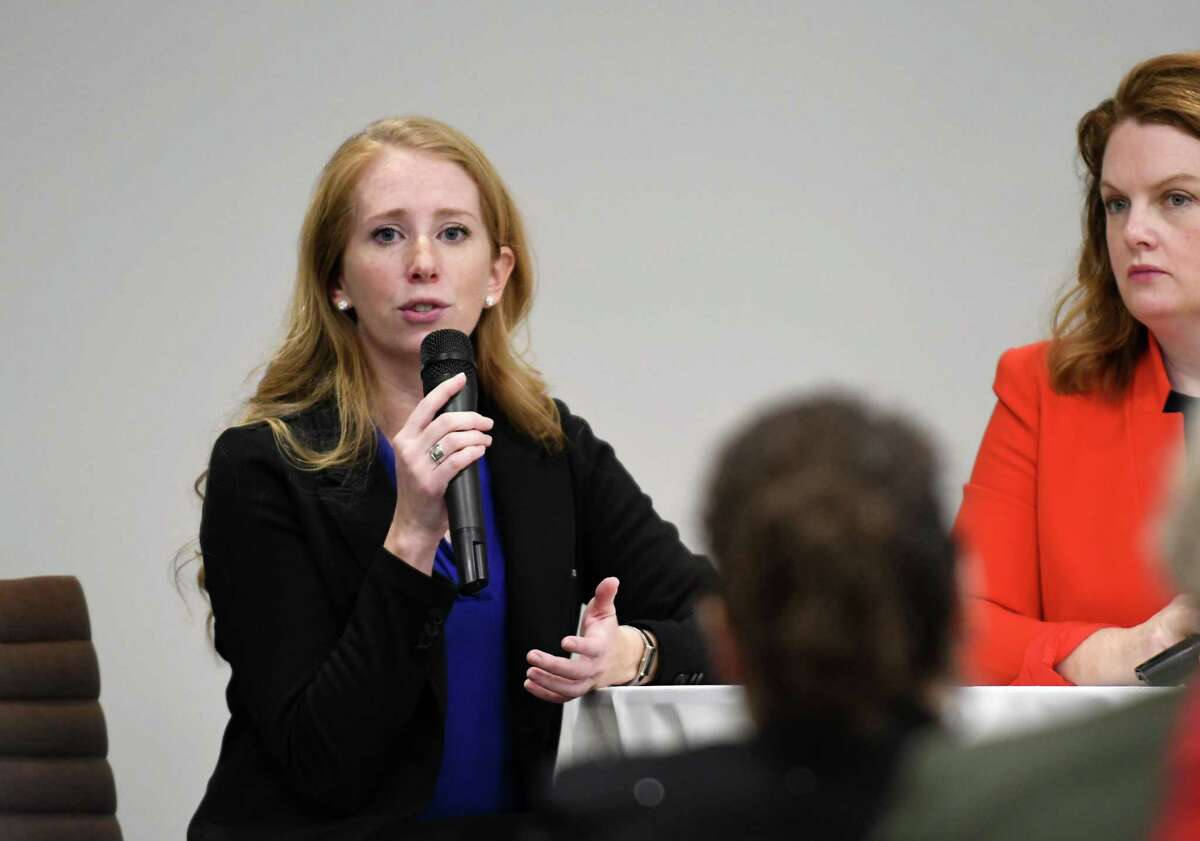 Heather Howley, CEO and lead pilot for Independent Helicopters, speaks during a Women@Work Changemakers breakfast event, sponsored by Bank of America, at the Hearst Media Center on Wednesday, Feb. 14, 2018, in Colonie, N.Y. (Will Waldron/Times Union)