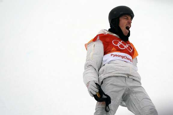 Shaun White of the U.S. celebrates after finishing his final run in the men's halfpipe final in Pyeongchang, South Korea, on Wed., Feb. 14, 2018. He scored a 97.75 to win his third gold medal. (Chang W. Lee/The New York Times)