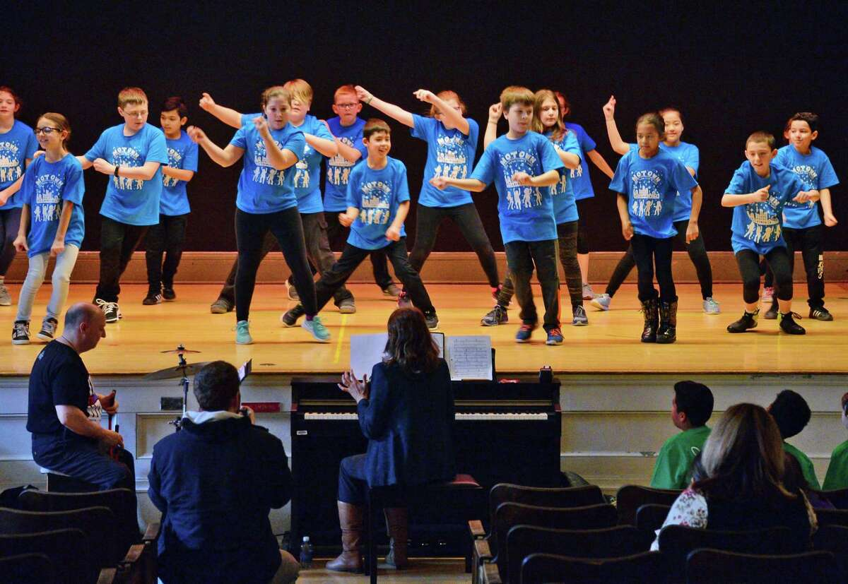 Students from Malta Avenue and Wood Road Elementary Schools rehearse for their SPAC Dance Residency performance at Malta Avenue Elementary School Wednesday Feb. 14, 2018 in Ballston Spa, NY. (John Carl D'Annibale/Times Union)