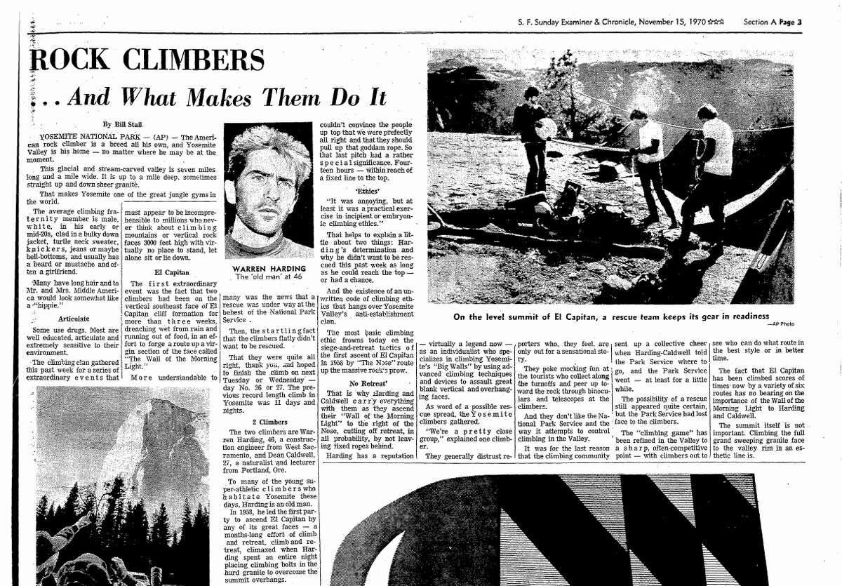 San Francisco Chronicle coverage of Warren Harding and Dean Caldwell's historic climb of the Dawn Wall of El Capitan in Yosemite National Park.