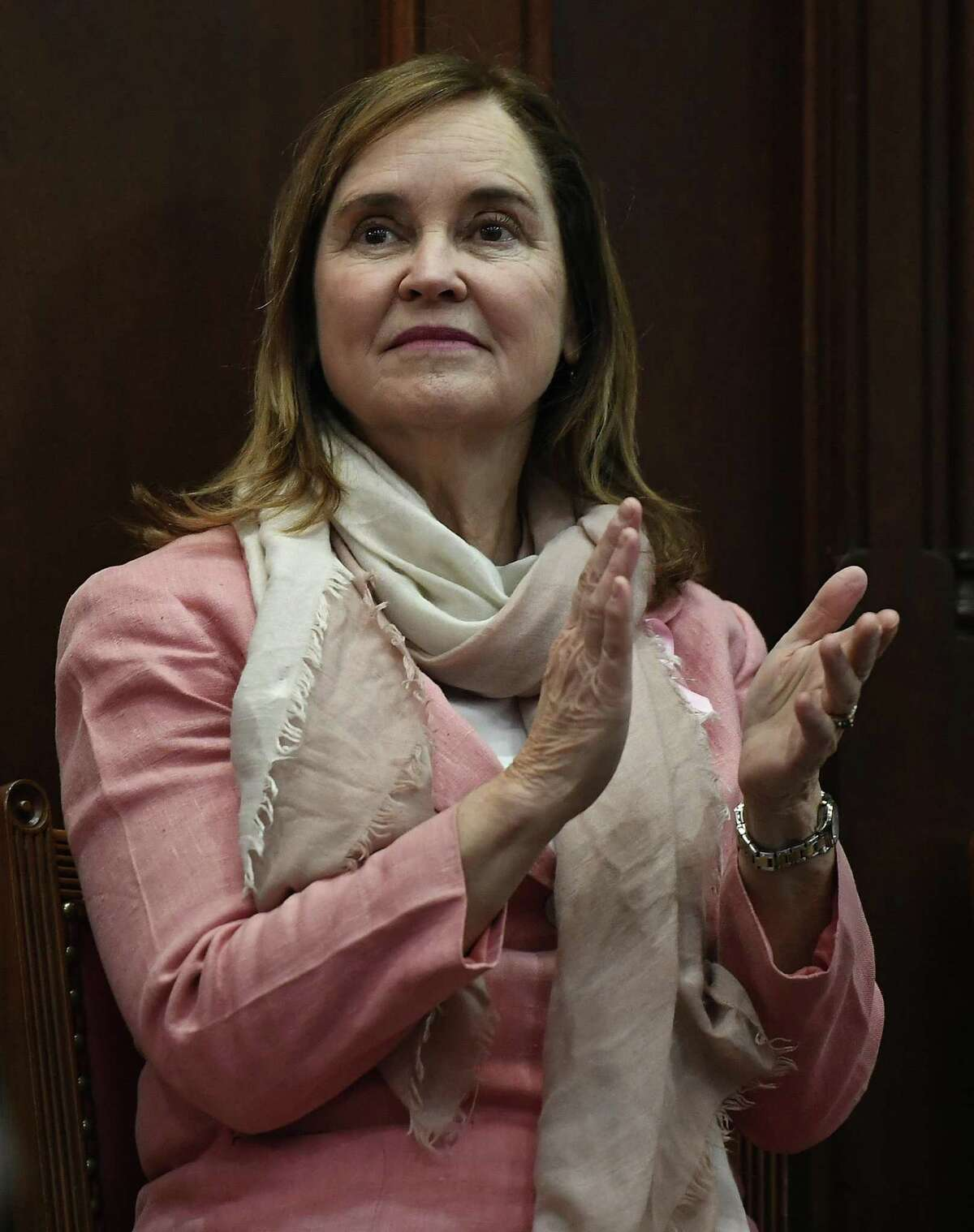 Secretary of the State Denise W. Merrill during opening session at the state Capitol, Wednesday, Feb. 7, 2018, in Hartford, Conn. (AP Photo/Jessica Hill)