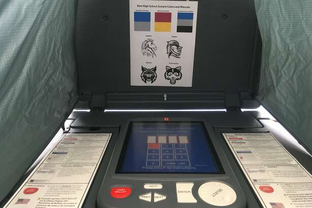 BISD has brought in voting machines from Jefferson County for Central and Ozen students to vote on the name, colors and mascot for the combined school.      Liz Teitz/The Enterprise