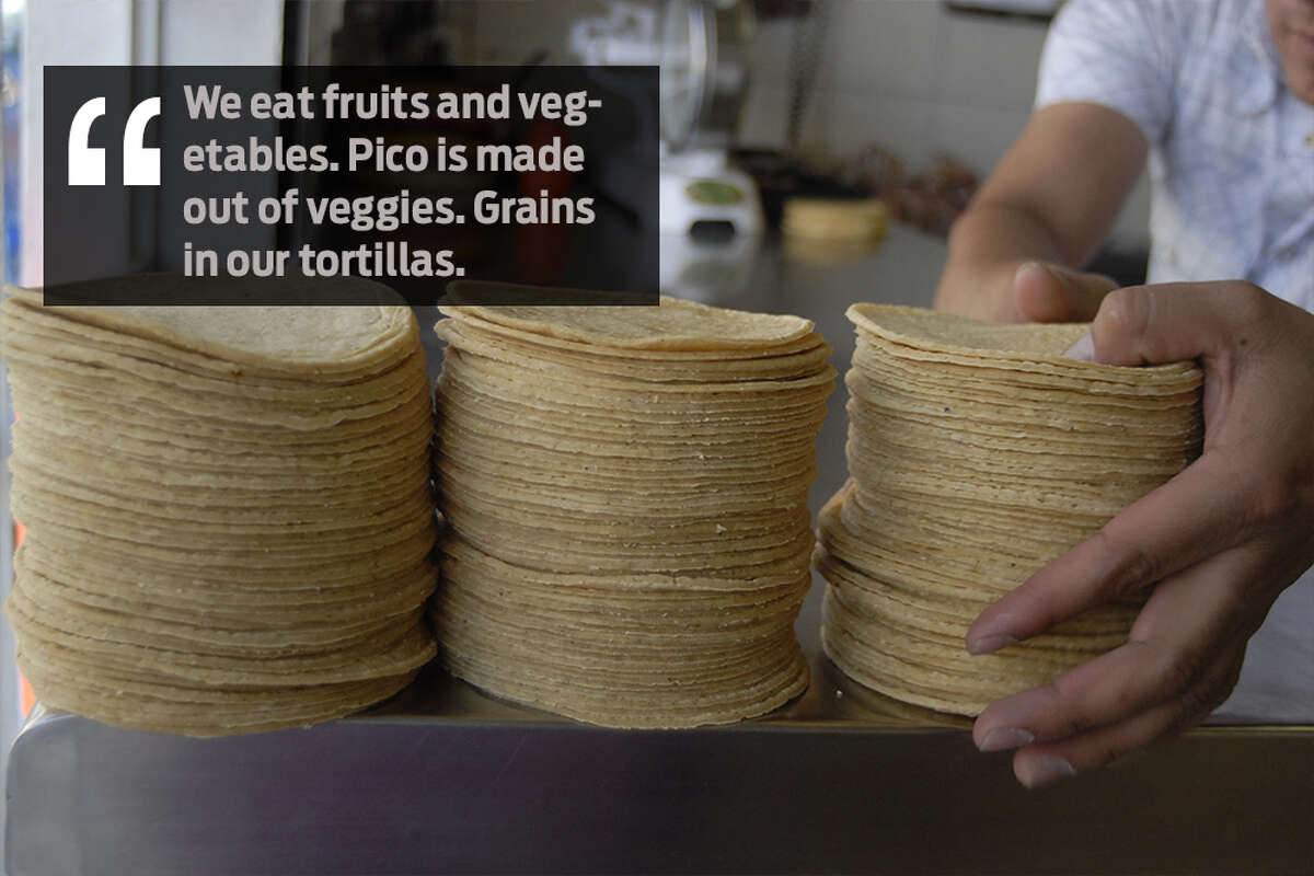 Kristy Diane Montemayor: We eat fruits and vegetables. Pico is made out of veggies. Grains in our tortillas.