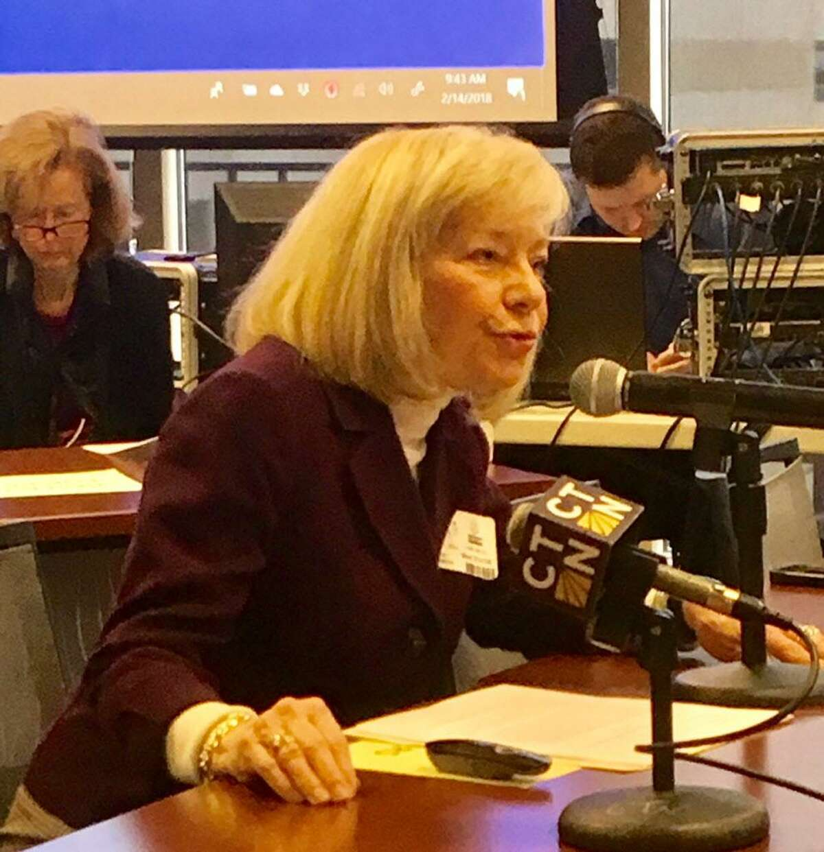 Stratford School Supt. Janet Robinson testifies before State Board of Education. Feb. 14, 2018