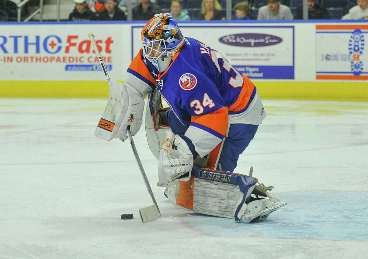 Goalie Eamon McAdam played most of last season for the Sound Tigers before being sent to the Worcester Railers, Bridgeport's ECHL affiliate.